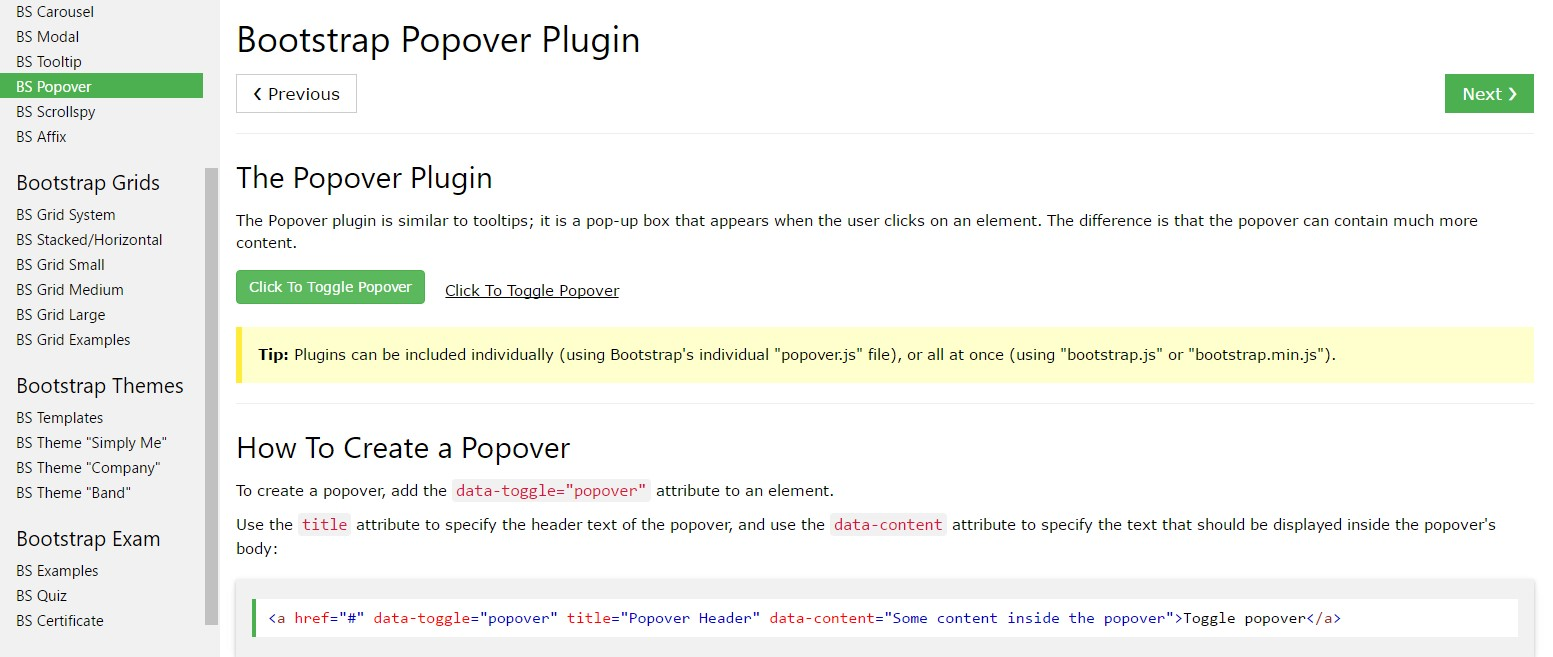 Bootstrap popovers  training