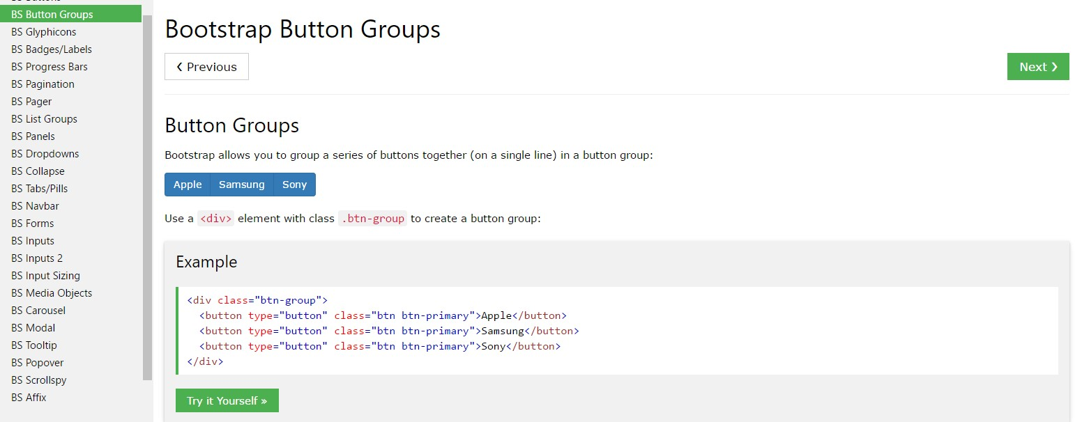 Bootstrap Button groups list