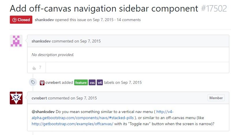 Add in off-canvas navigation sidebar  element
