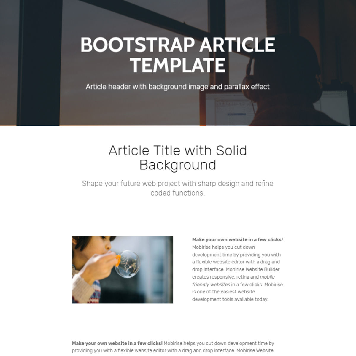 Mobile Bootstrap  Article  Templates