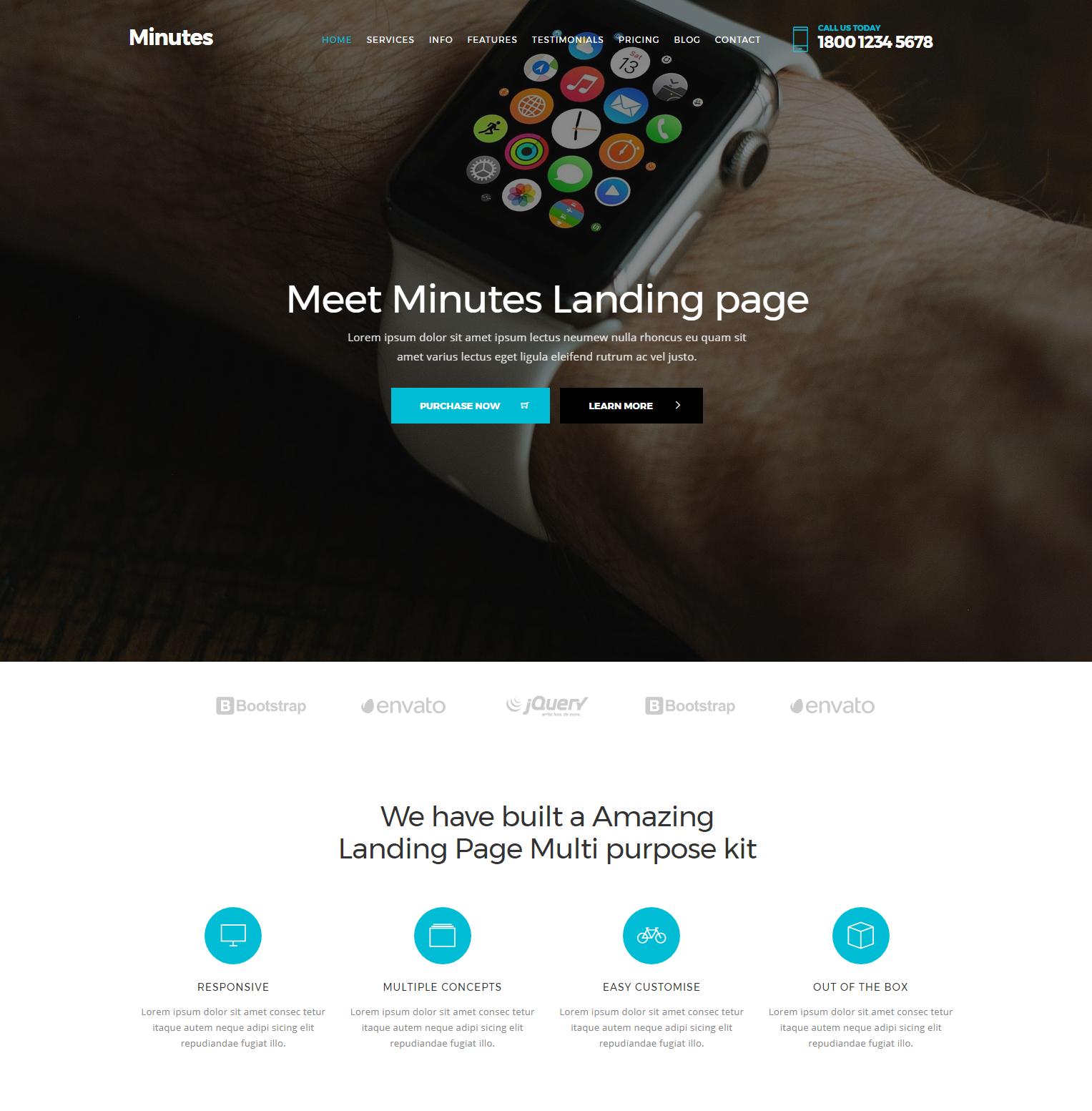 Minutes Bootstrap Landing Page