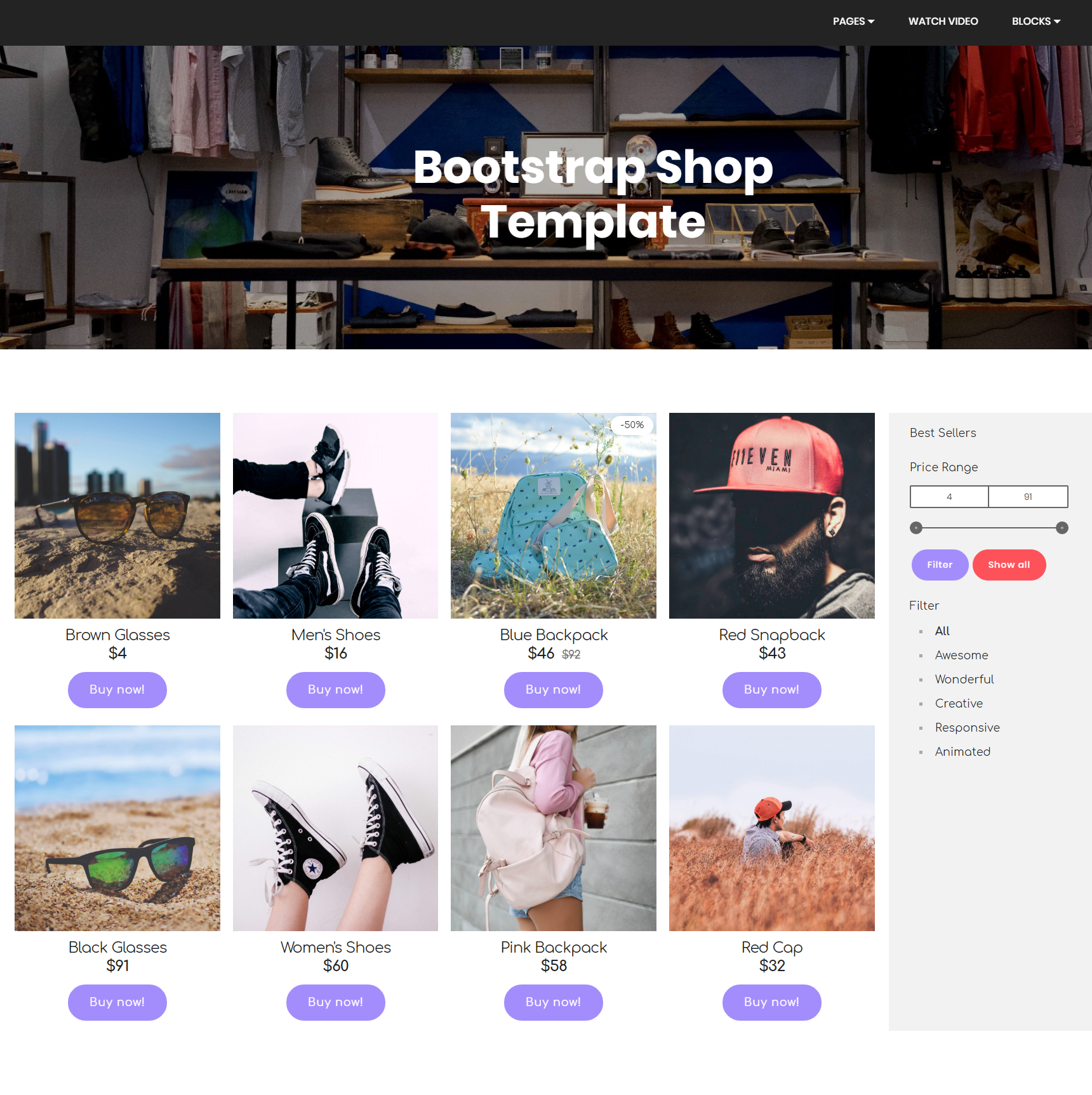 Bootstrap HTML5 eCommerce Shop Template