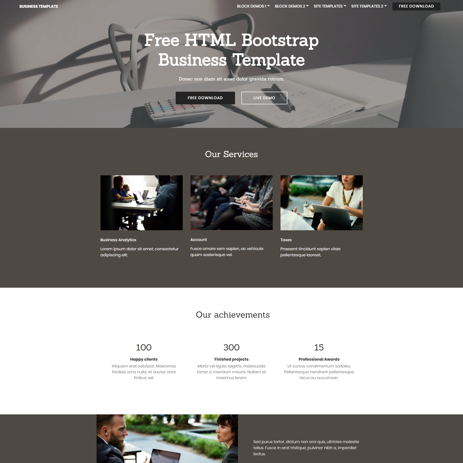 Free Download Bootstrap Business Templates
