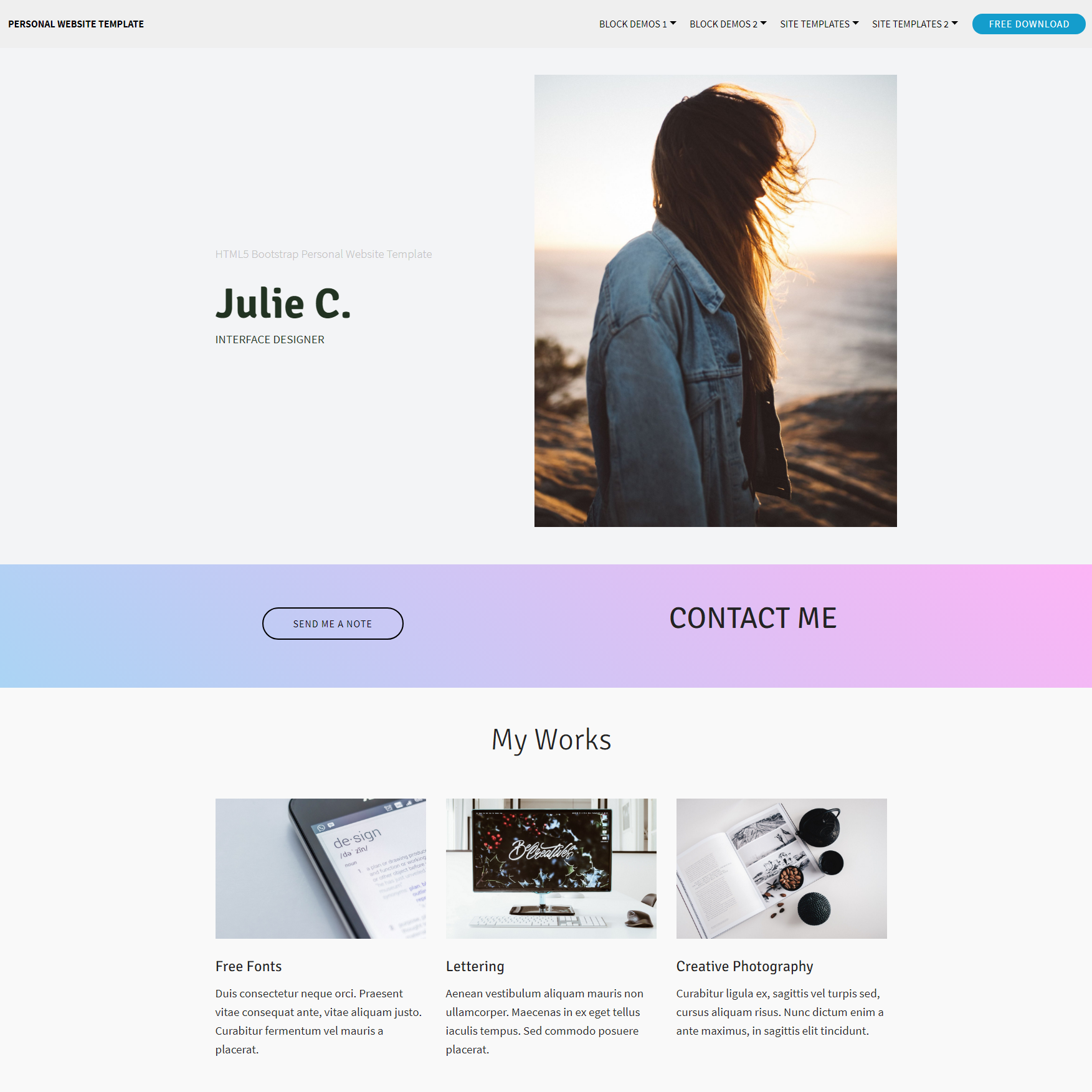 CSS3 Bootstrap Personal website Templates