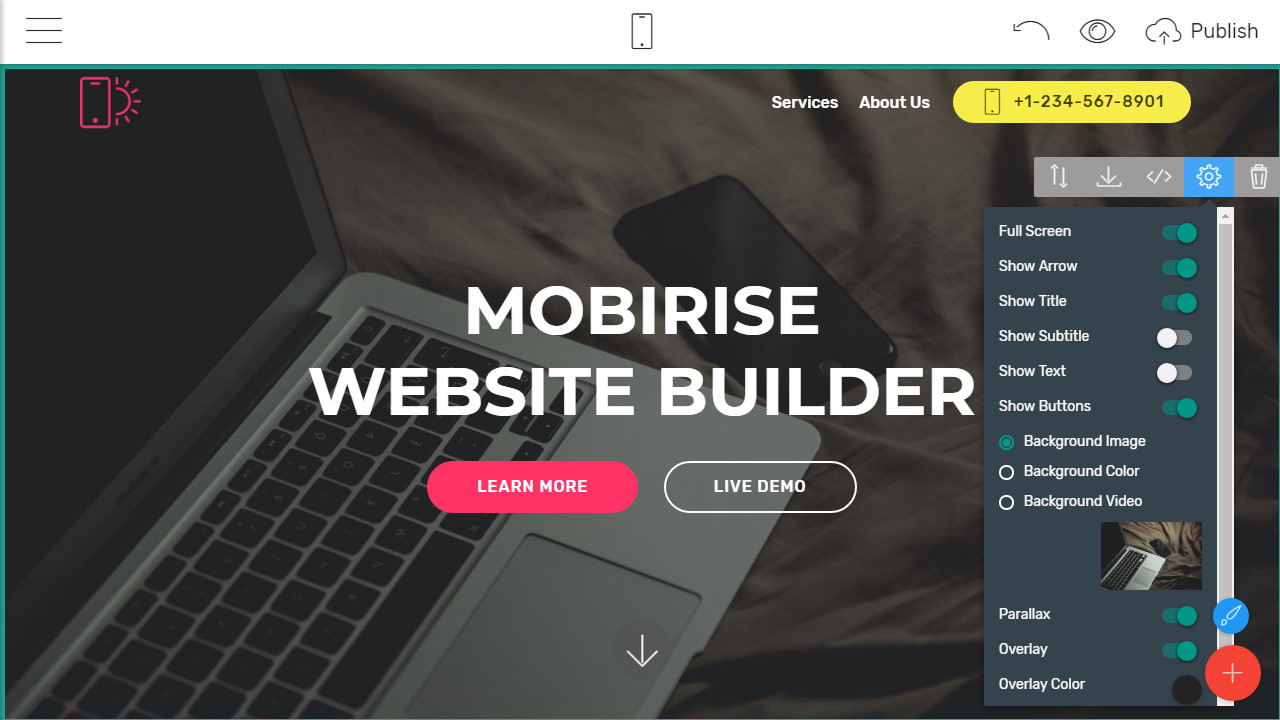 one-page website template creator