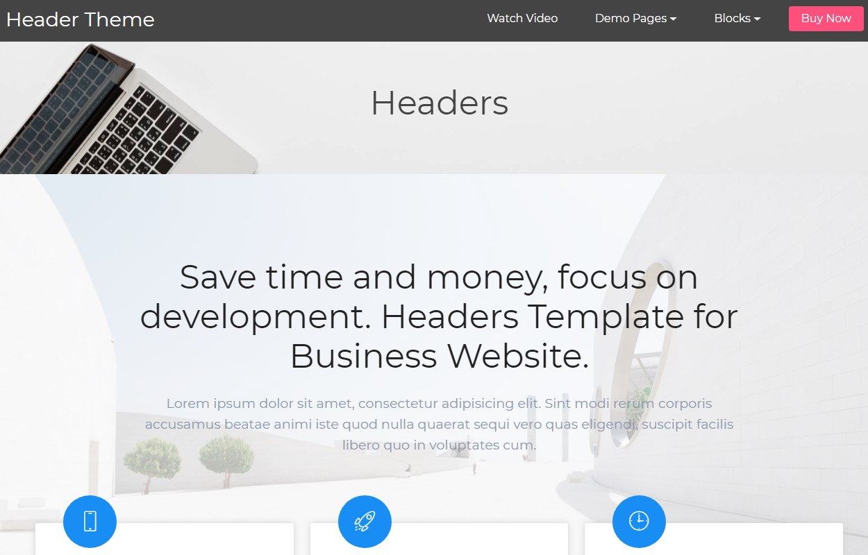 Mobile-friendly Header HTML Template