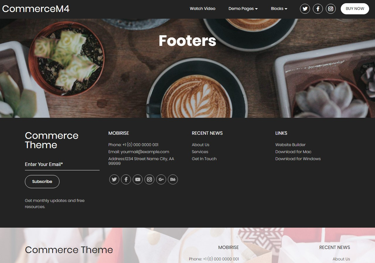 Footers Template for eCommerce Website