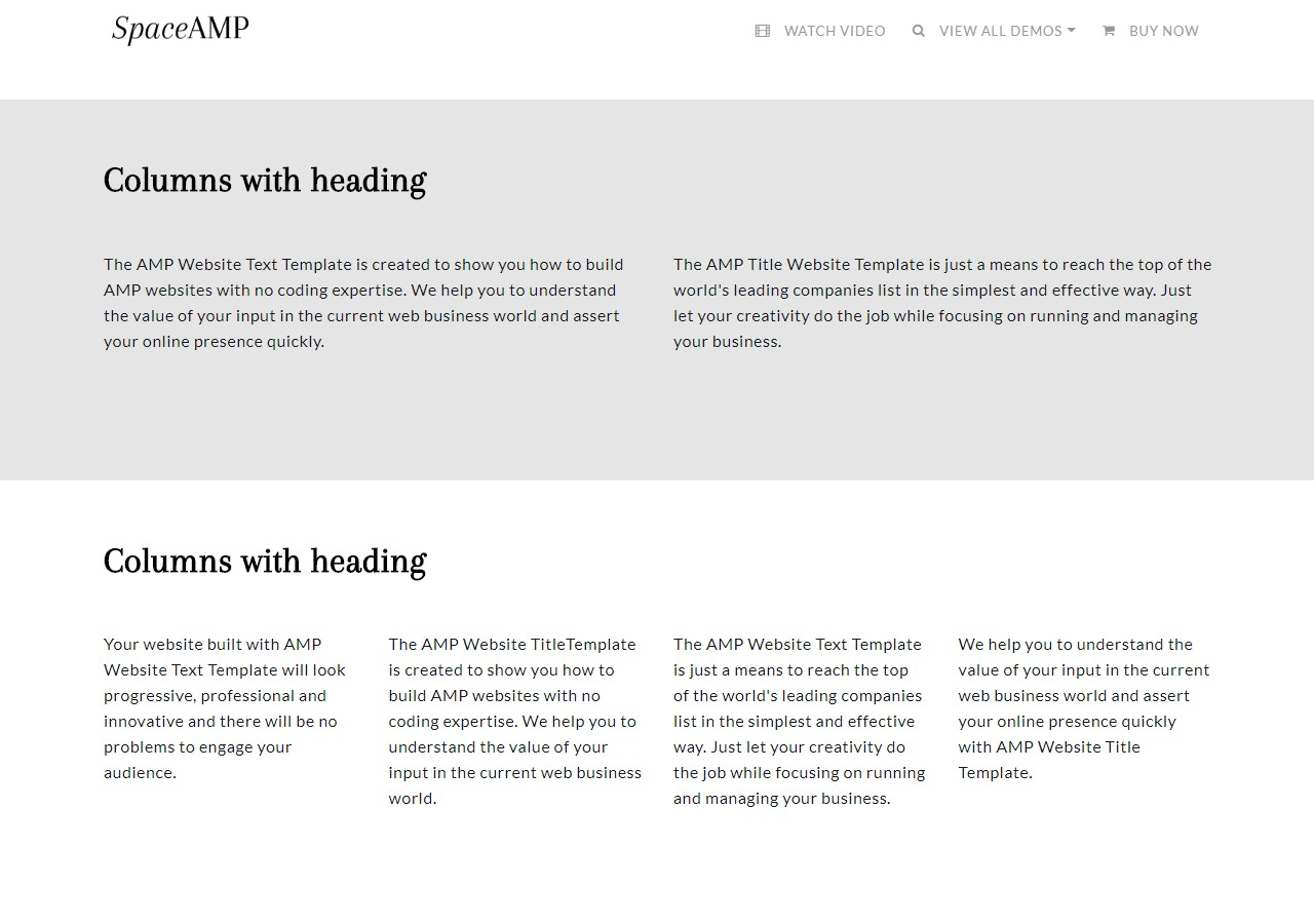 AMP Website Text and Titles Template