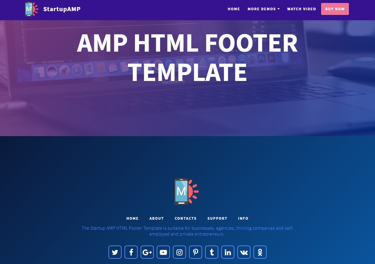 Startup AMP HTML Footer Template