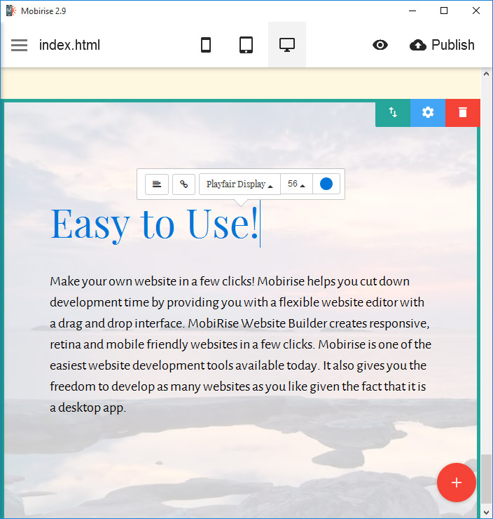 Other page options include edit file names, set titles, clone pages and add Meta descriptions.