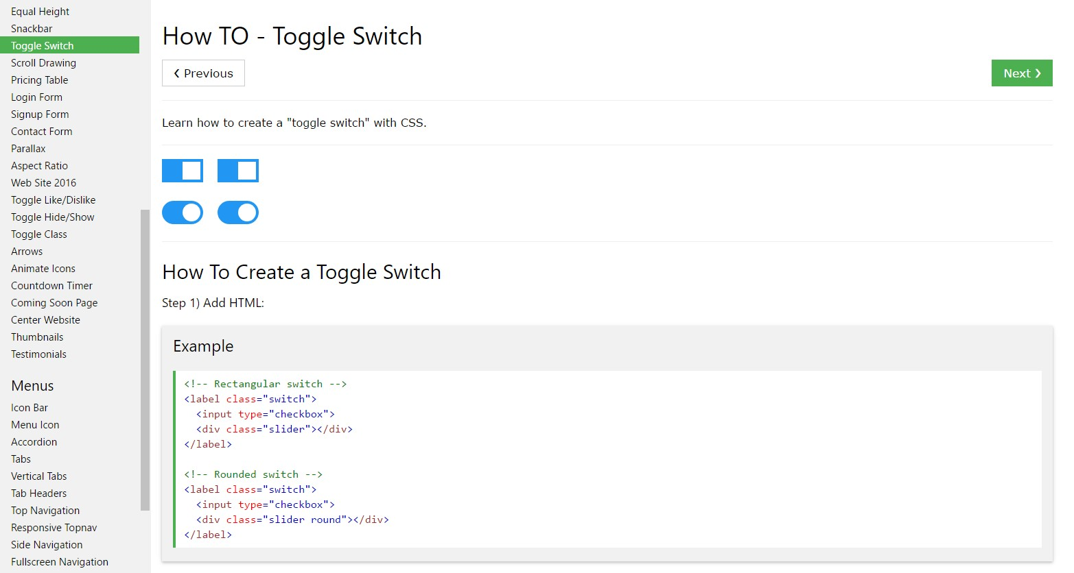 The best way to  develop Toggle Switch