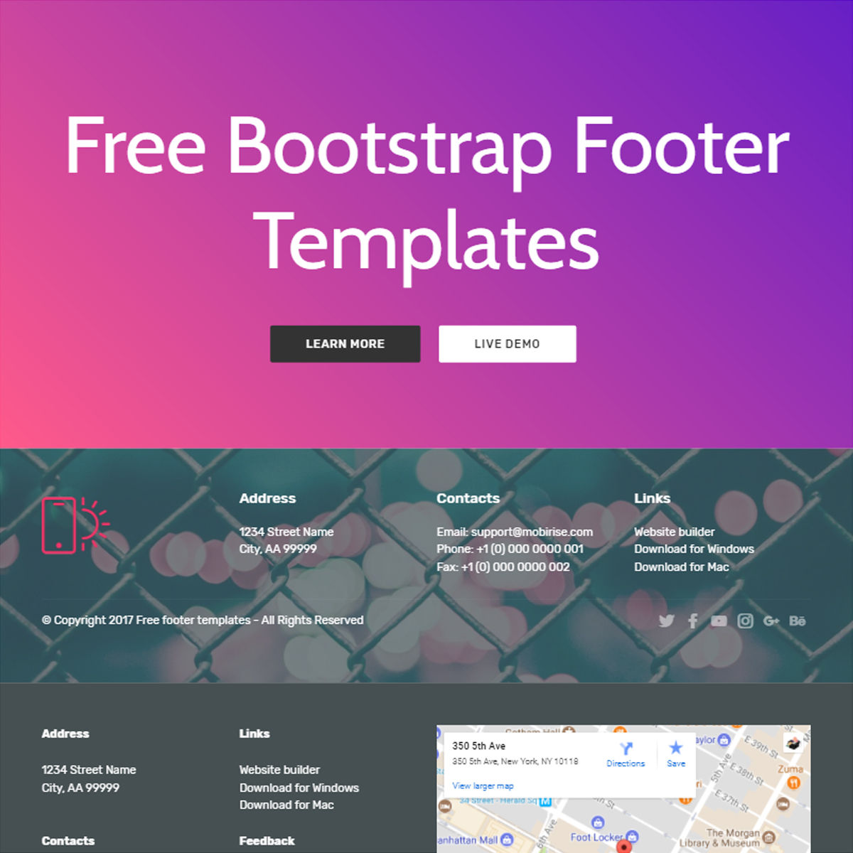 Mobile Bootstrap  Footer  Templates