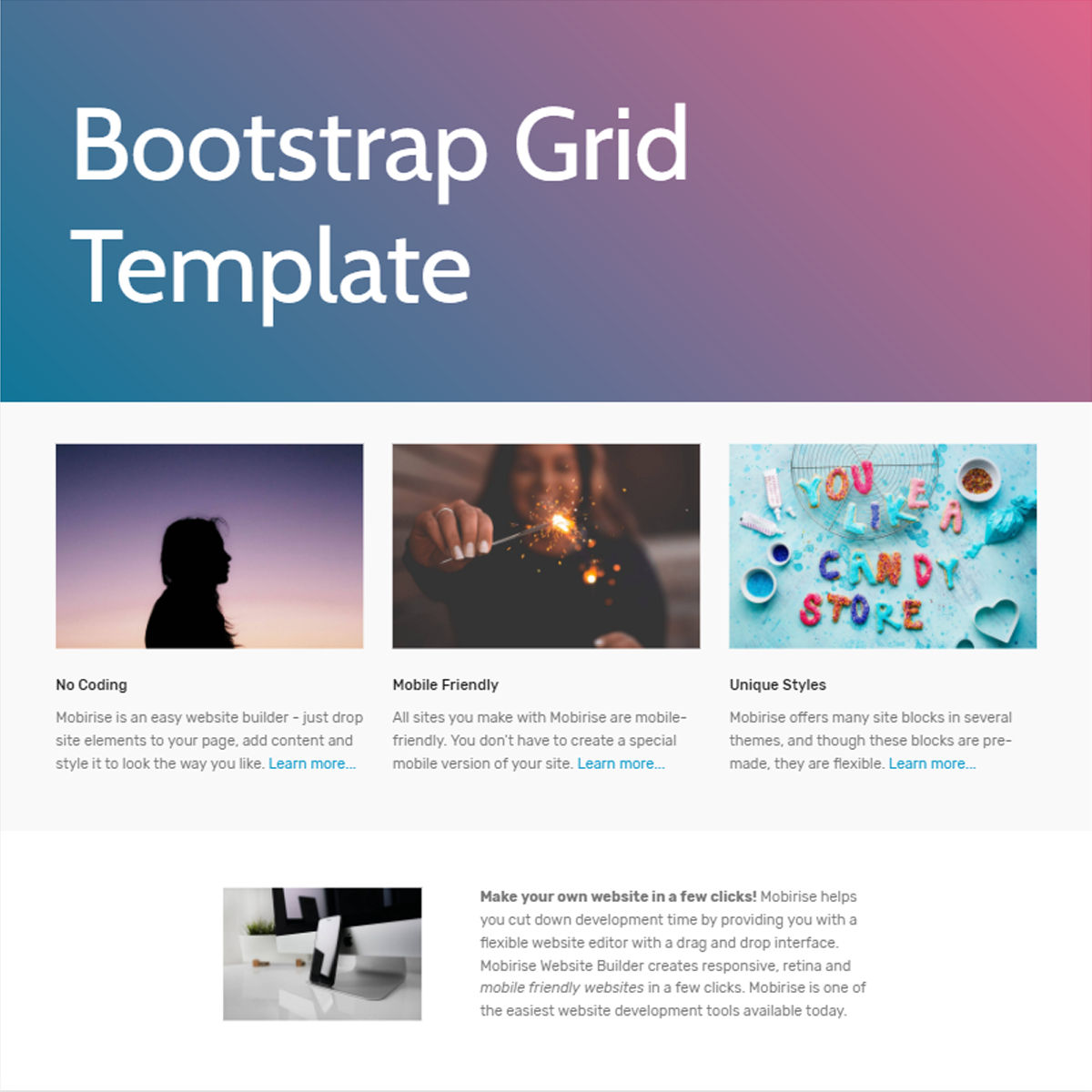 HTML5 Bootstrap  Grid  Themes