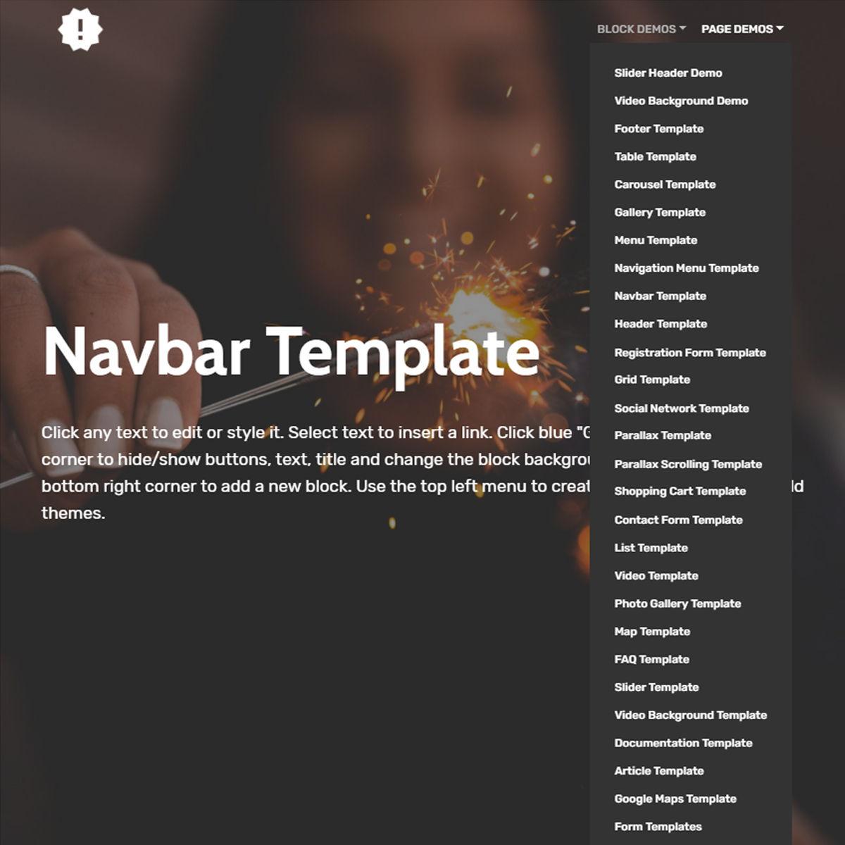 Mobile Bootstrap  Navbar  Templates