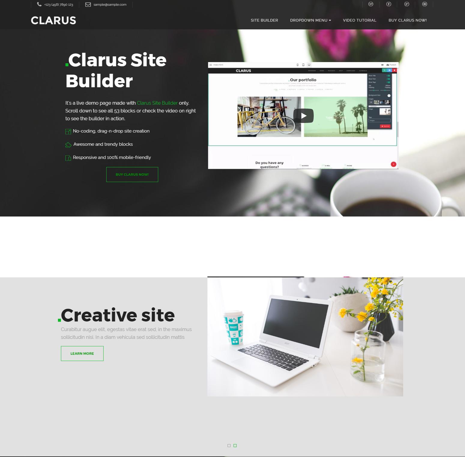 Clarus Bootstrap Site Builder