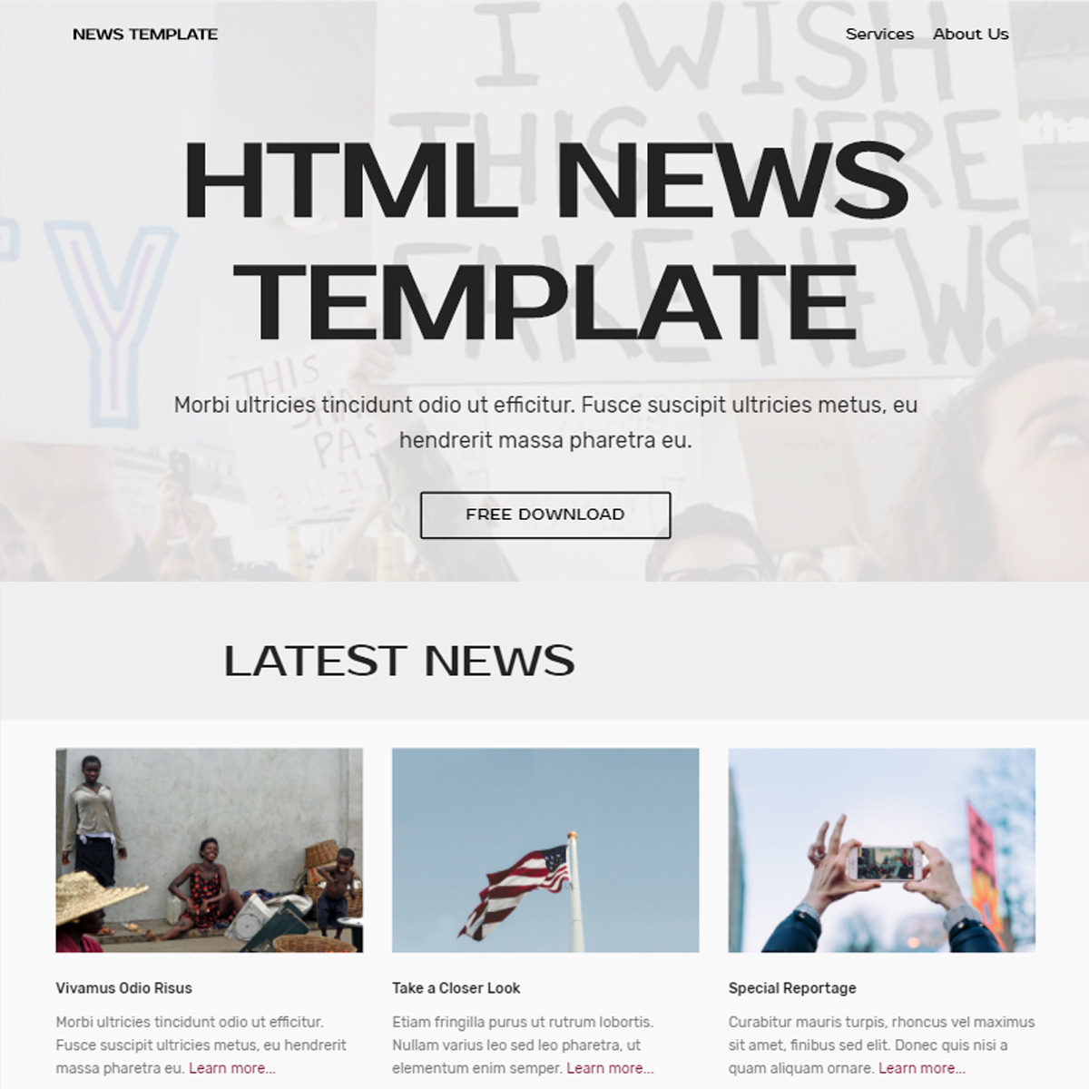 HTML News Bootstrap Template