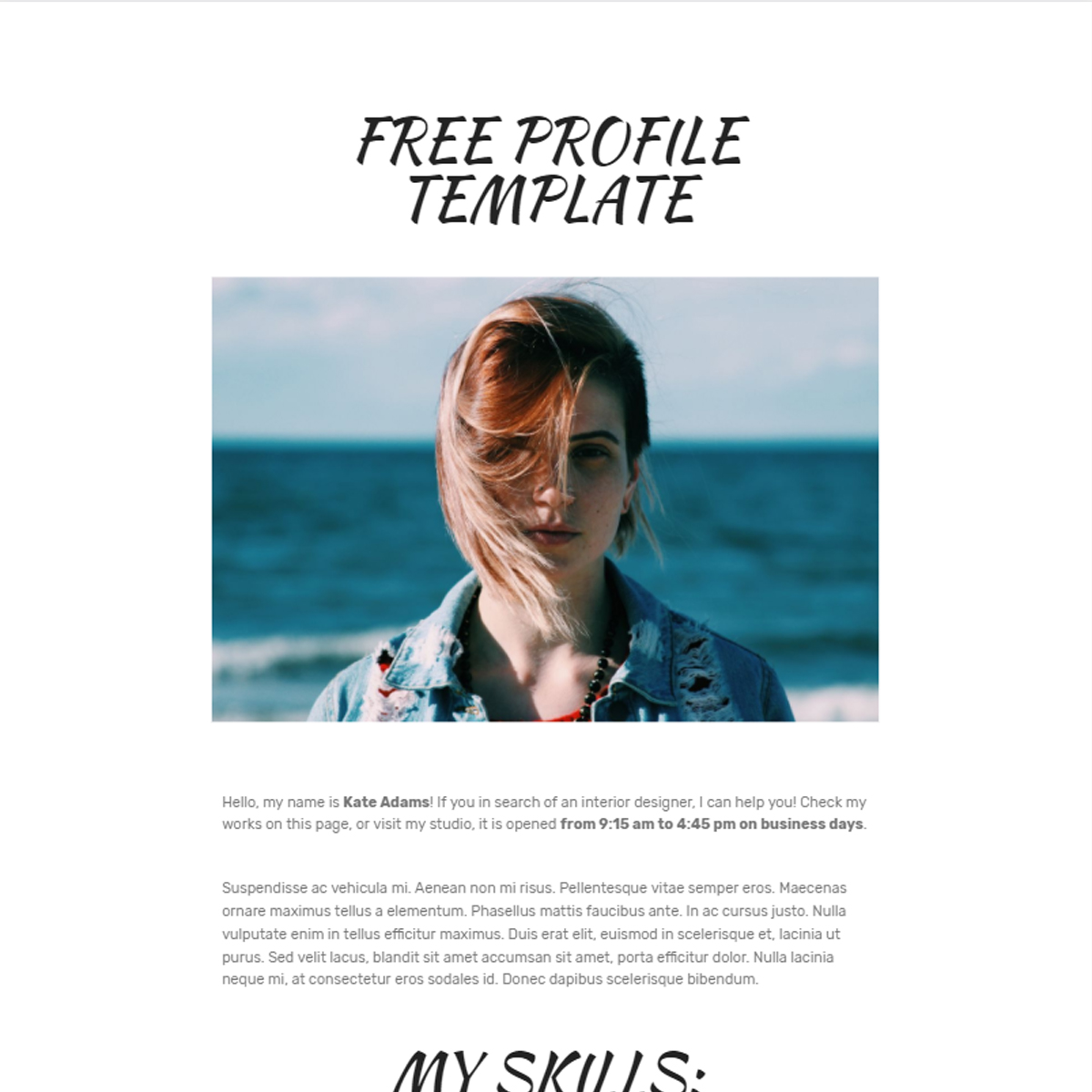 Free Bootstrap Profile Template