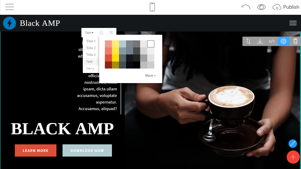 mobirise amp html templates