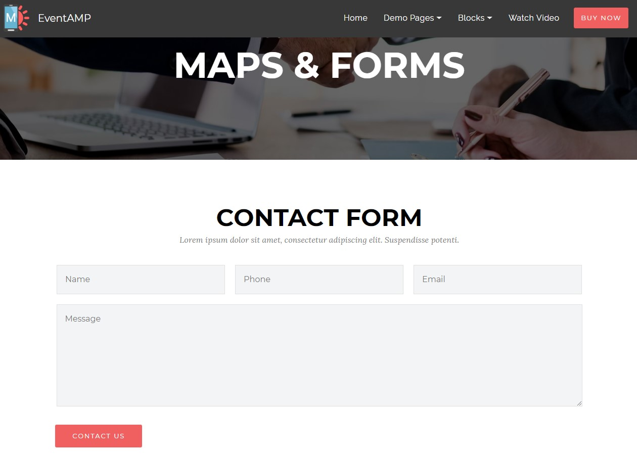 EventAMP Maps and Forms Templates