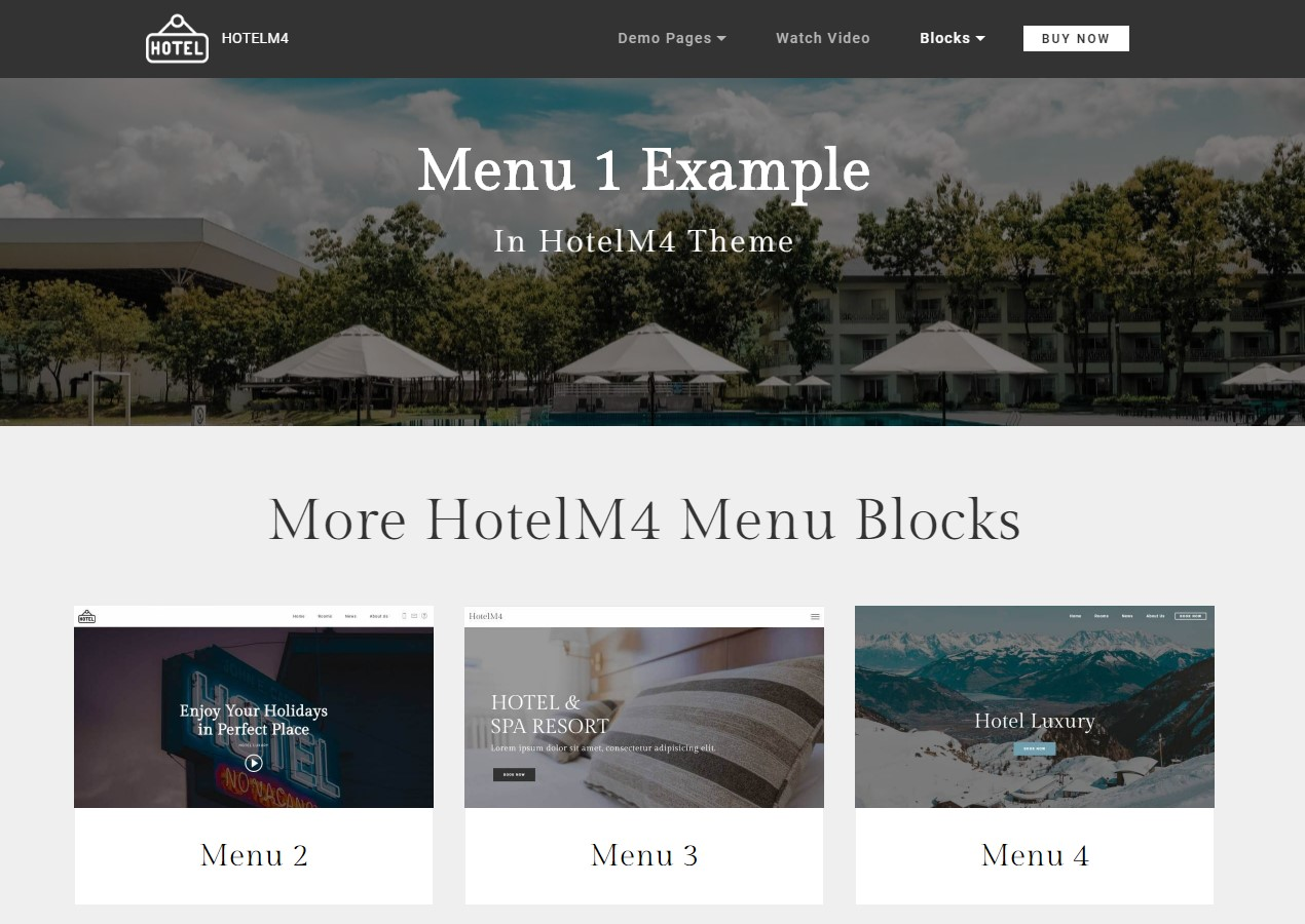 Hotel Theme Website Menu