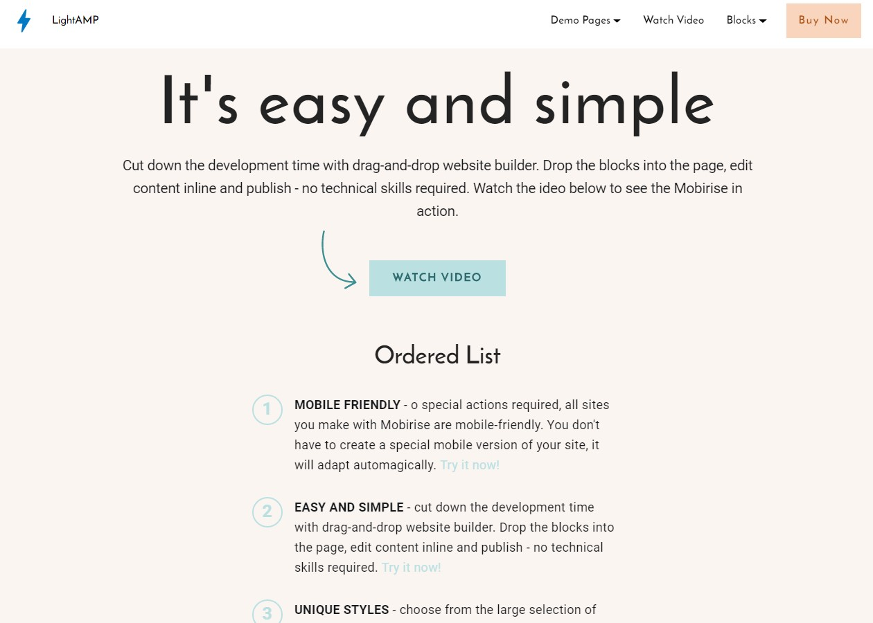 LightAMP Content Template