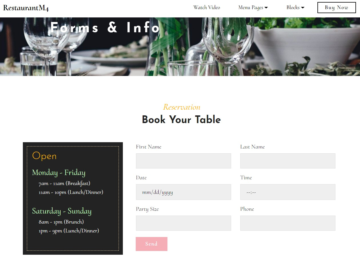 Restaurant Forms & Info Template